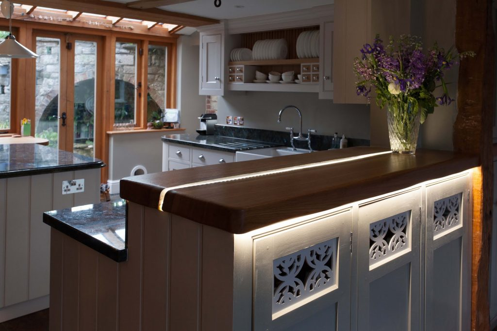 illuminated  kitchen worktop